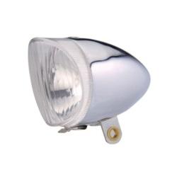 Lampka przód klasyczna srebrna pod dynamo UN P-011